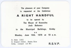 Invitation to attend the 'A Right Handful' exhibition, 1979
